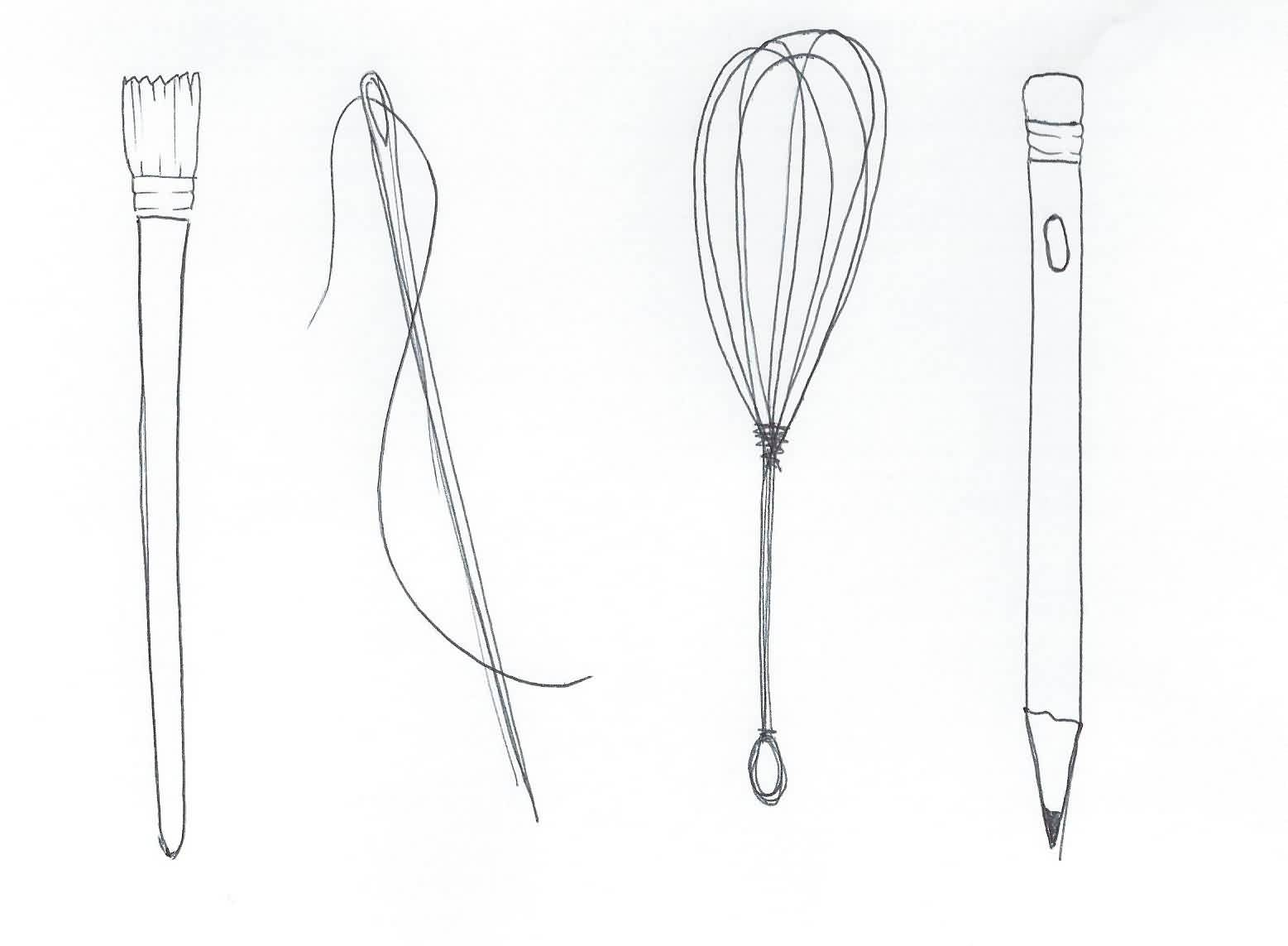 Brush Whisk Pencil Needle Tattoos Sketch