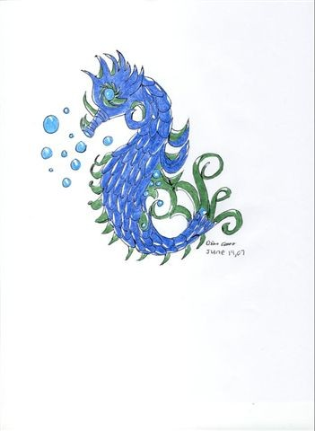 Bubbles And Blue Seahorse Tattoos