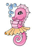 Bubbles And Pink Seahorse Tattoo Design