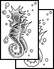 Bubbles And Seahorse Tattoos Design