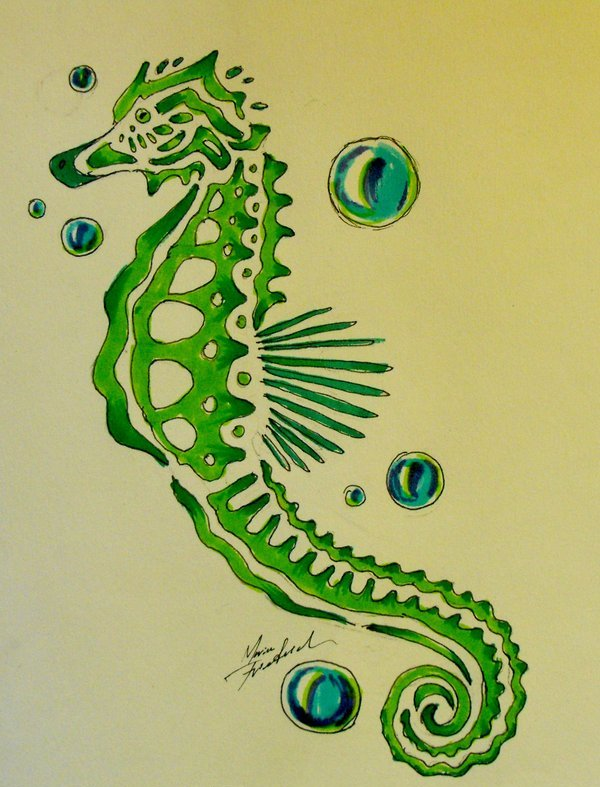 Bubbles And Seahorse Tattoos Print