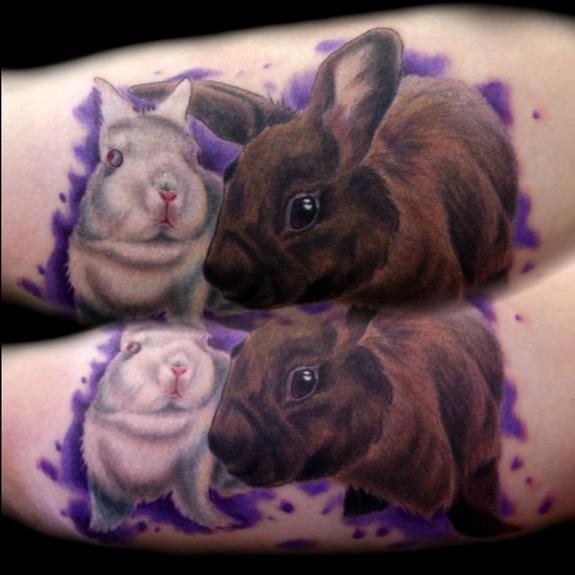 Bunny Rabbit White Brown Pet Portrait Tattoos