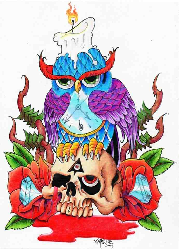 Burning Candle On Owl Skull Tattoo Design