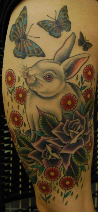 Butterflies White Rabbit And Flower Tattoos On Arm