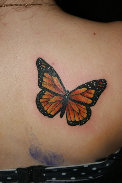 Butterfly 3D Tattoo On Right Back Shoulder