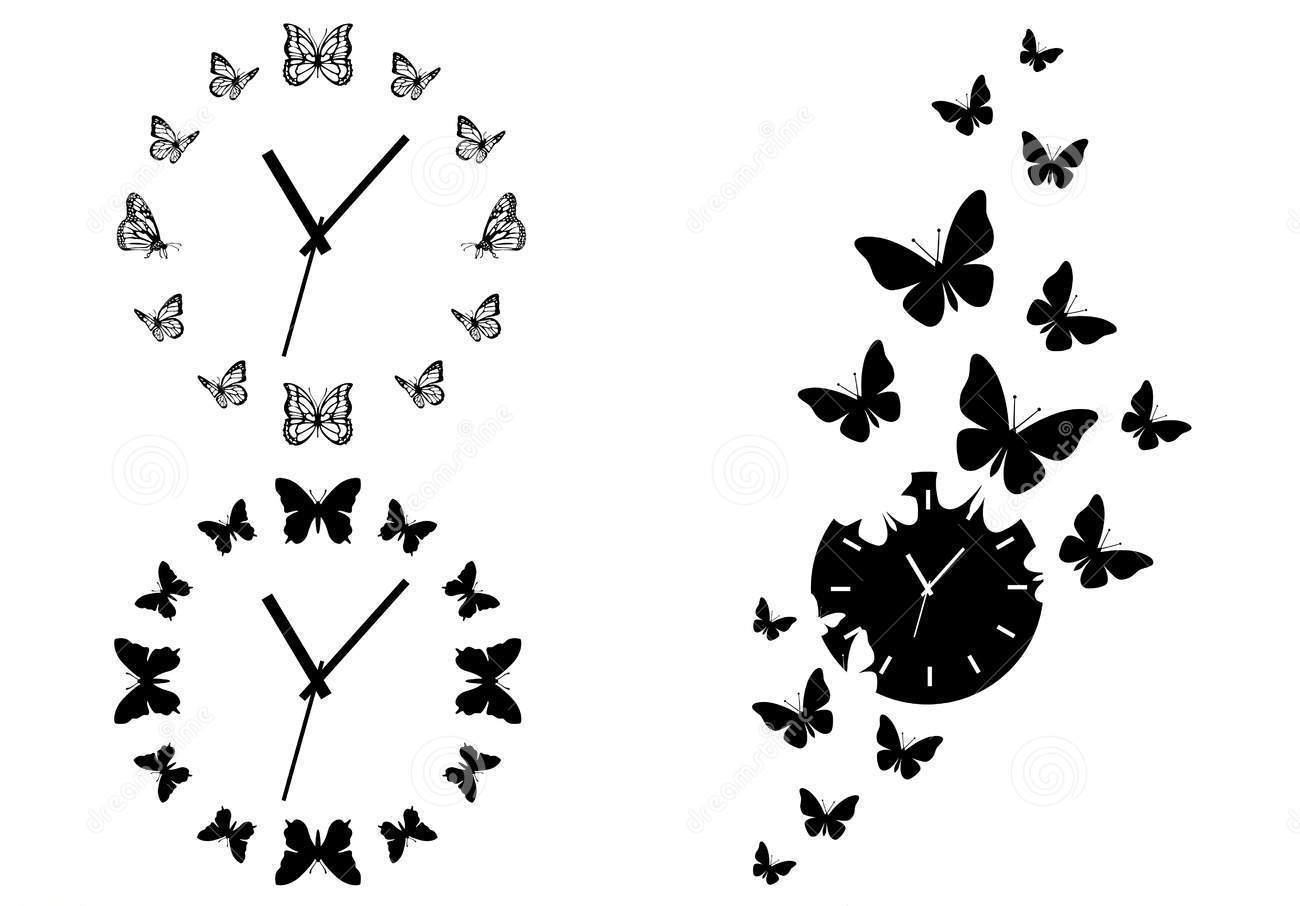Butterfly Clocks Tattoos Set