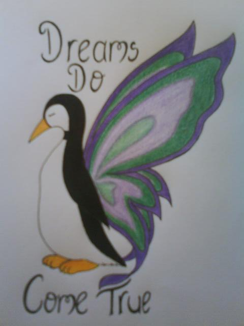 Butterfly Winged Penguin Tattoo Design