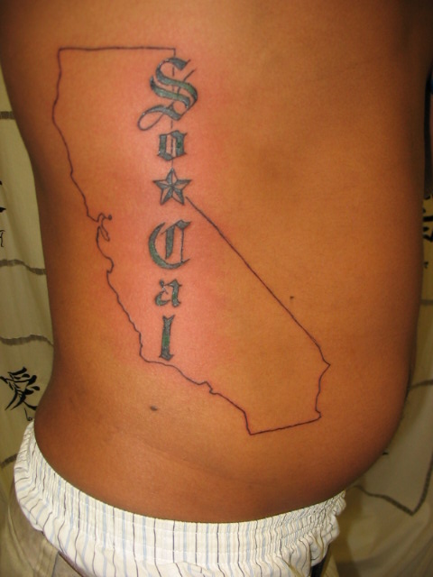 California Map Tattoo On Side