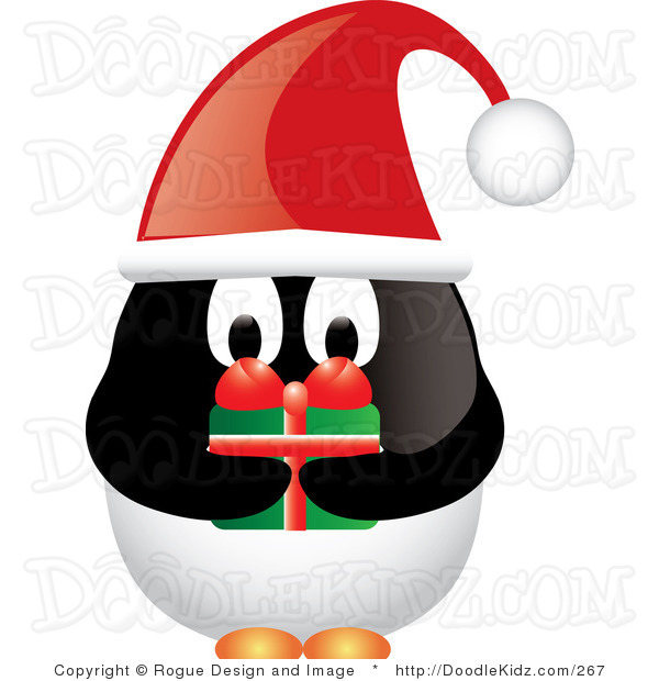 Cartoon Christmas Penguin Holding A Present Tattoo Design