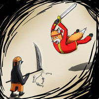 Cartoon Fox Vs Penguin Tattoo Photo