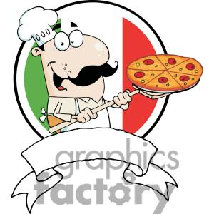 Cartoon Logo Proud Chef Inserting A Pepperoni Pizza In Front Of Flag Of Italy Tattoo Design