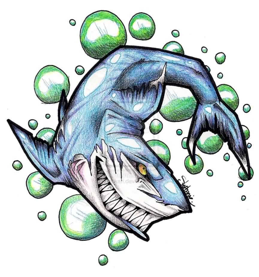 Cartoon Shark And Green Bubbles Tattoo Design