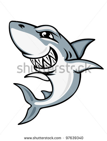 Cartoon Smiling Shark Tattoo Design