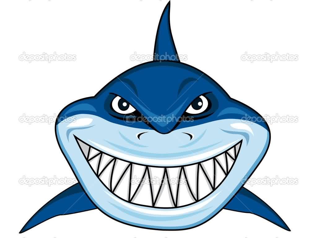 Cartoon Smiling Shark Tattoo Model