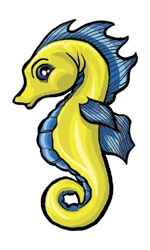 Cartoon Yellow Seahorse Tattoo Design