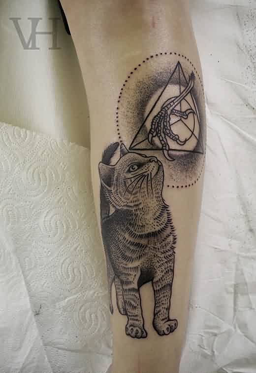 Cat And Geometric Triangle Tattoos