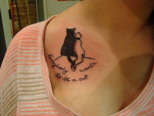 Cats Tattoos On Collarbone