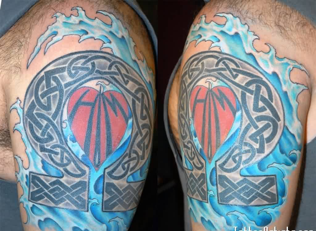 Celtic And Blue Wave Tattoos On Biceps