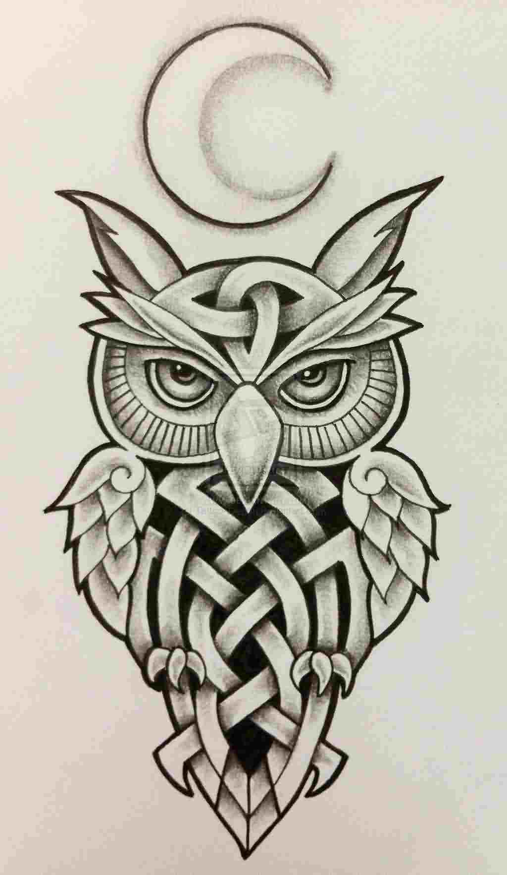 Celtic Owl And Moon Tattoo Designs