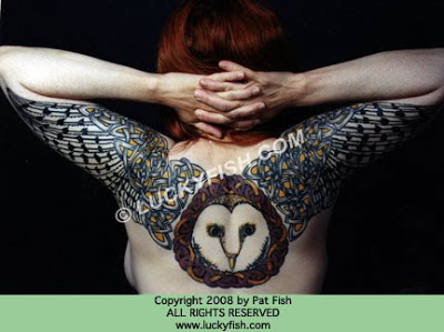 Celtic Owl Backpiece Tattoos