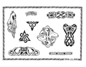 Celtic Triangle Tattoos Set