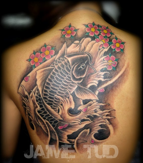 Cherry Blossoms Koi And Wave Tattoos For Back