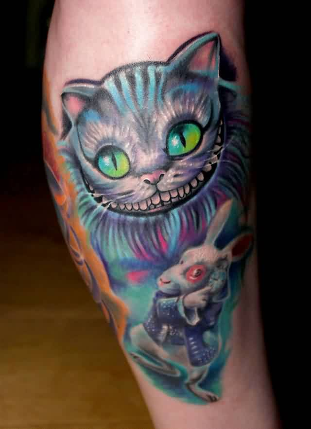 Cheshire Cat And White Rabbit Tattoos