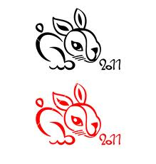 Chinese New Year Rabbit Tattoos Set