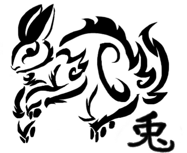 Chinese Rabbit Tattoo Model