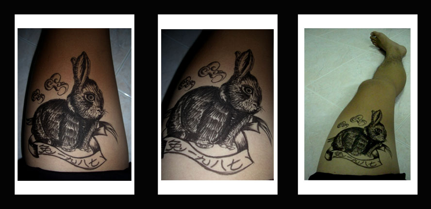 Chinese Rabbit Tattoos On Thigh