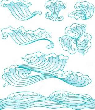 Chinese Style Wave Tattoos Set
