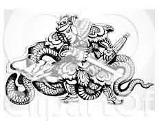 Chinese Warrior And Dragon Black And White Tattoos