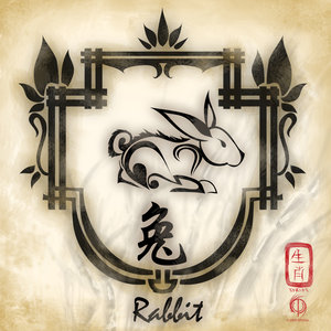 Chinese Zodiac Rabbit Tattoo Flash