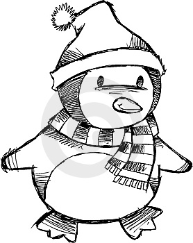 Christmas Penguin Tattoo Drawing