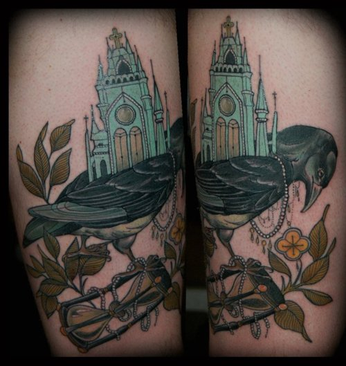 Church On Crow And Sandclock Tattoos
