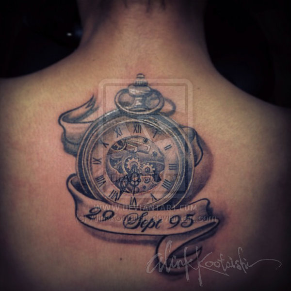 Classic Grey Clock With Banner Tattoo On Upperback