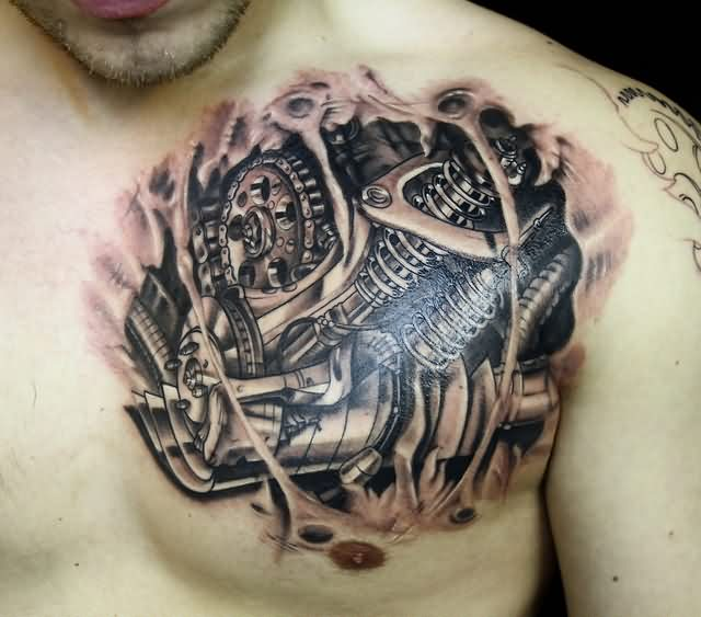 Clean 3D Biomechanical Shocker Tattoo On Chest