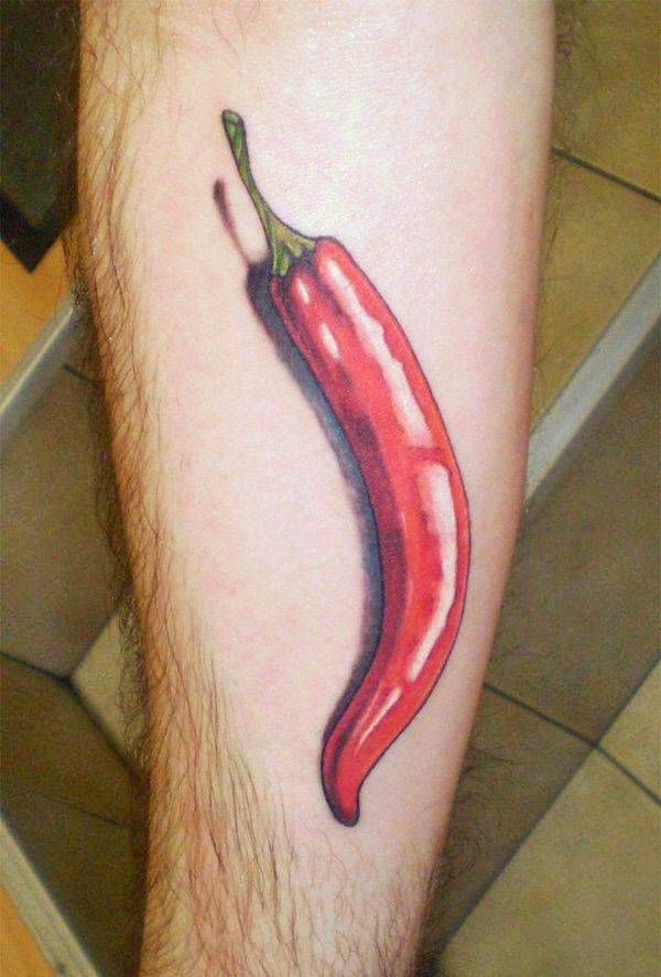 Clean 3D Red Chilly Tattoo On Arm