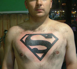 Clean 3D Superman Logo Tattoo On Chest