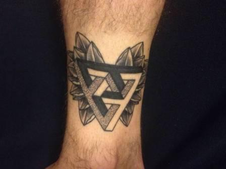 Clean Dotwork Triangle And Rose Tattoos On Ankle