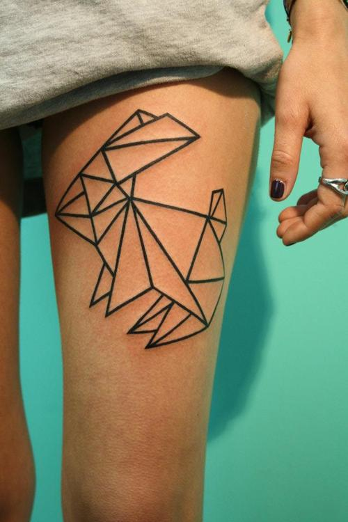 Clean Geometric Rabbit Tattoo On Thigh For Girls