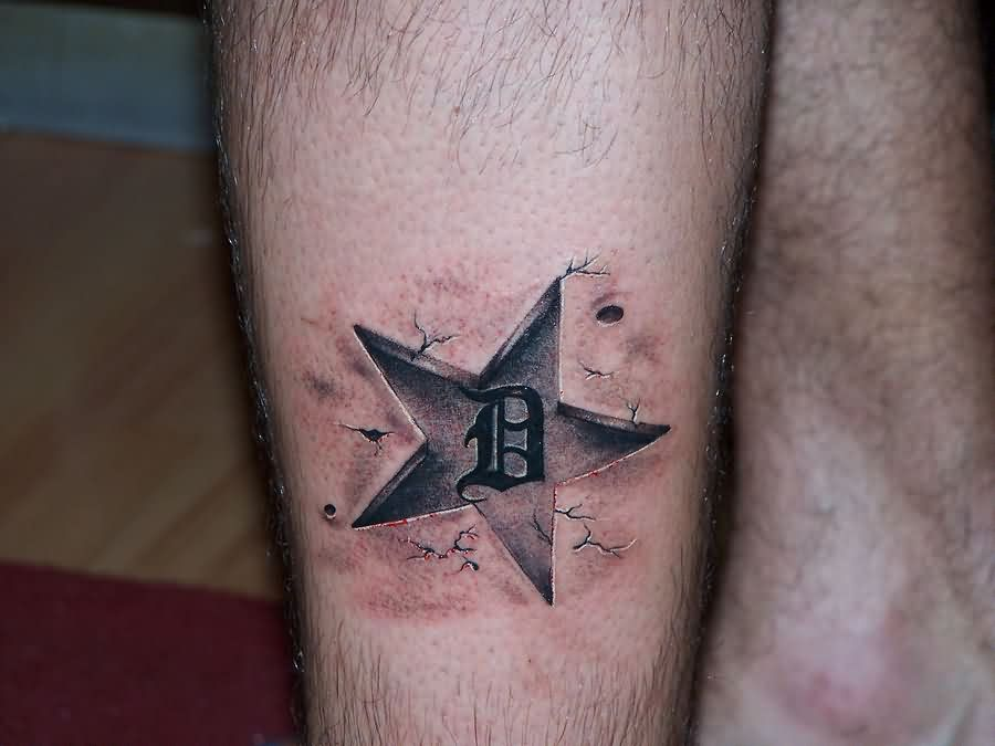 Clean Grey 3D Star Tattoo