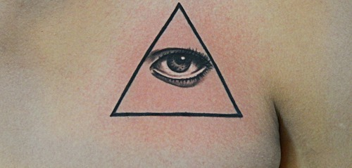 Clean Impressive Triangle Eye Tattoo On Chest