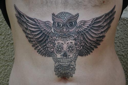 Clean Owl Sugar Skull Tattoo On Stomach