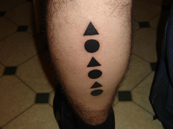 Clean Solid Black Triangle And Circle Tattoos