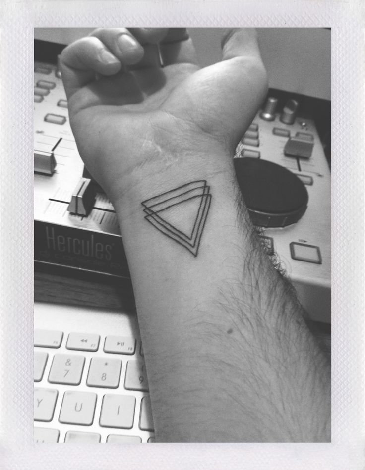 Clean Triple Triangle Tattoos On Inner Wrist
