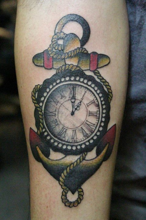 Clock Anchor Colorful Tattoo On Forearm