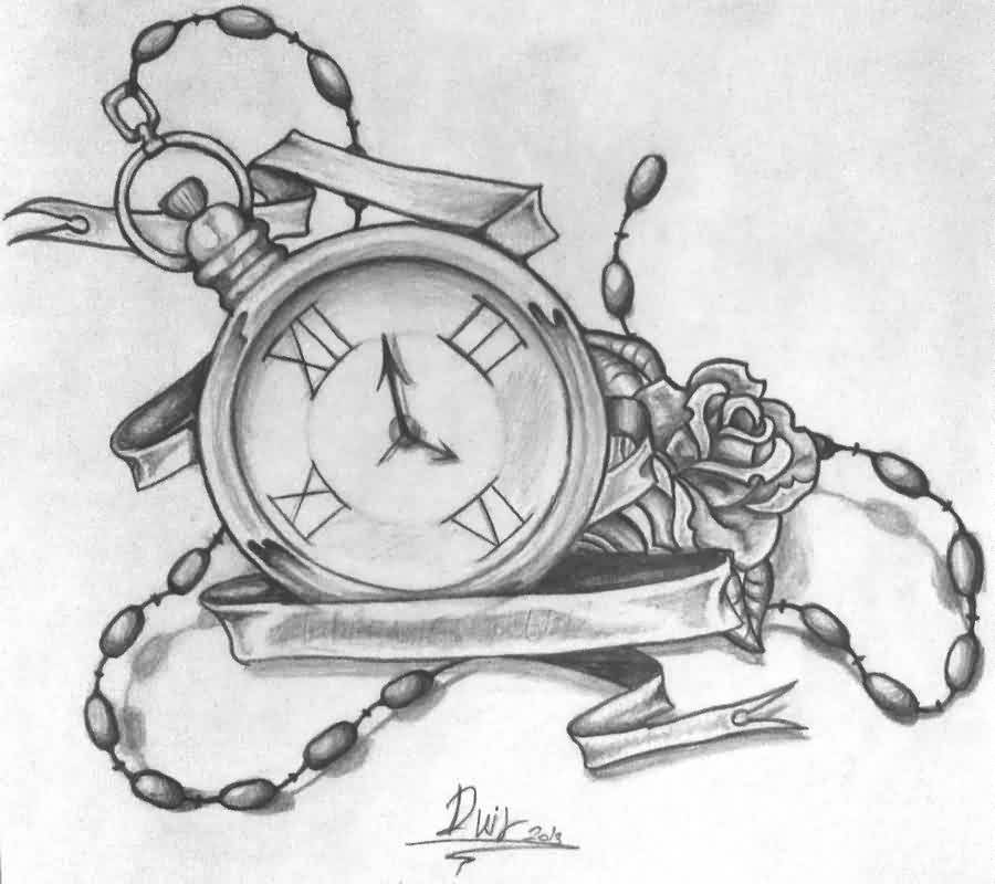 Clock And Banner Tattoos Sketch