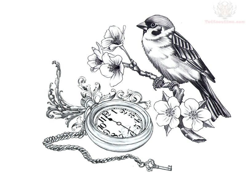 Clock And Bird On Branch Tattoos Design