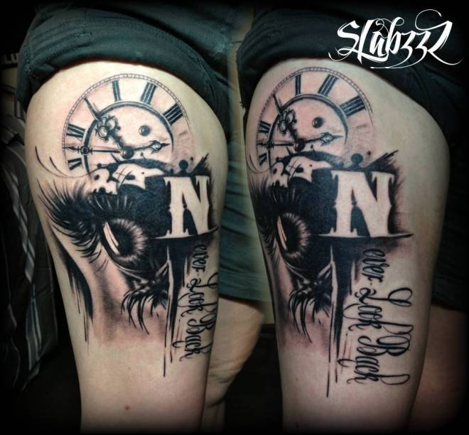 Clock And Black Eye Tattoos On Thigh